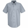 SP20BB Short Sleeve Blue/Navy Stripe Industrial  Work Shirt