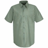 SP20GK Short Sleeve Green/Khaki Stripe Industrial  Work Shirt