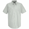 SP20GW Short Sleeve White/Green Stripe Industrial Work Shirt