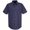 SP20IC Short Sleeve Blue w/Brown/White  Stripe Industrial  Work Shirt
