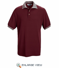 SK78BR Short Sleeve Burgandy Box Pattern Knit Shirt - Without Pocket - Discontinued