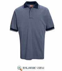 SK84NV Short Sleeve Performance Navy/Cream Knit® Birdseye Shirt - Without Pocket - Discontinued