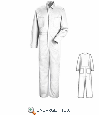 CC14WH White Cotton Coveralls, Concealed Snap Front