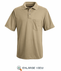 SK02KH Khaki Performance Knit Polyester Pique Polo Shirt
