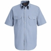 SL60 Short Sleeve Mock Oxford Striped Dress Uniforms Shirt