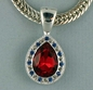 Ruby Colored Cut Glass Teardrop Neckslide
