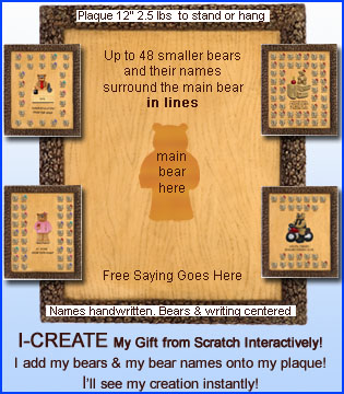 I-Create Plaques: 21 - 49 Teddy Bears in Lines