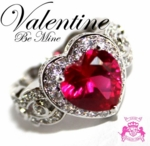 BEAUTY FOR ASHES VALENTINE BE MINE RUBY RED HEART CZ RING