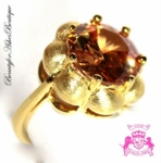 BEAUTY FOR ASHES FLORAL TOPAZ GOLD PLATED DIVA RING