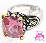Throne Room Pink Tourmaline Cz Checker Cut Two Tone Ring