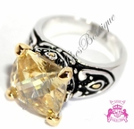 SIGNATURE BALI BOHEMIAN TWO TONE CANARY CZ RING