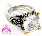 SIGNATURE BOHEMIAN BALI CLEAR WHITE CZ TWO TONE RING