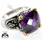 SIGNATURE AMETHYST CHECKER CUT CZ BALI TWO TONE RING