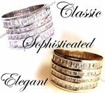 PLATED CLEAR CZ WIDE BAND RING SPECTACULAR RING