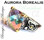 BEAUTY FOR ASHES RAINBOW ICE FIRE AURORA BOREALIS CZ RING