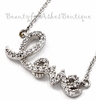 Girls Dainty Love Script Charm Cubic Zirconia Necklace