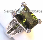 Evergreen Olivine and Clear CZ Ring