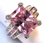 Pink Tourmaline and Clear CZ Ring