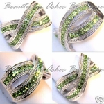 PERIDOT CZ CRISS CROSS RING