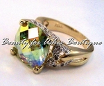 GOLD PLATED AURORA BOREALIS PERIDOT CZ  RING