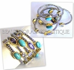 SILVER PLATED TURQUOISE STONE & LAVENDER CZ CABLE RING