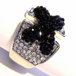 DESIGNER INSPIRED BLACK TIE CLEAR CZ CORSET CROSS RING