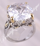 DESIGNER STYLE 15MM LARGE SIZE SIGNATURE CLEAR CZ RING