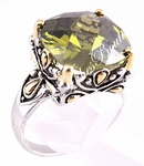 DESIGNER 15MM LARGE SIZE SIGNATURE OLIVINE CZ RING