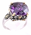 DESIGNER 15MM LARGE SIZE SIGNATURE AMETHYST CZ RING