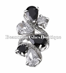 Jewelry TUXEDO DRAMA TEARDROP BLACK CLEAR CZ RING 6-9