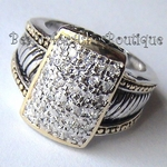 DESIGNER INSPIRED BON AMI TWO TONE CABLE CLEAR PAVE CZ DOT RING