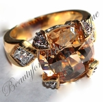 18K Plated CHAMPAGNE CZ CHATEAU RING 5 6 7 8 9 10