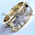BEAUTY FOR ASHES JEWELRY TWO TONE ELEPHANT CZ WALK RING