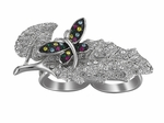 JEWELRY CLEAR PAVE CZ's LEAF BUTTERFLY KNUCKLE RING