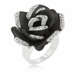 BEAUTY FOR ASHES BLACK MATTE ROSE RING FLOWER CLEAR CZ