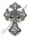 GIANT CROSS MARCASITE & CLEAR CRYSTALS STRETCH RING WOW