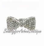 SILVERTONE CLEAR CRYSTAL LOLA SMALL BOW ADJUSTABLE RING