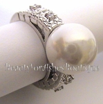 FAUX PEARL OF WISDOM CLEAR CZ RING BRIDESMAID ELEGANCE