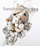 CHUNKY SEA SHELL FAUX PEARL CRYSTAL STRETCH RING