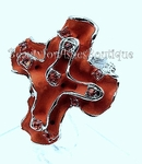 RED CRYSTALS PAINTED CROSS STRETCH CHUNKY RING
