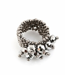 METALLIC SILVER CRYSTAL BEADED STRETCH RING