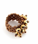 METALLIC BRONZE BEADED CRYSTAL STRETCH RING