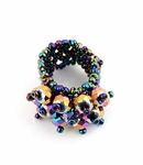 DARK AB AURORA BOREALIS BEADED CRYSTAL STRETCH RING