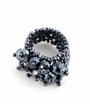 METALLIC HEMATITE GREY BEADED CRYSTAL STRETCH RING