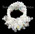 OPALESCENT CLEAR AB BEADED CRYSTAL STRETCH RING