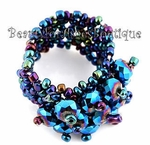 DARK AB BLUE RAINBOW PURPLE BEADED CRYSTAL STRETCH RING