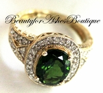 14K GOLD RUSSIAN CHROME DIOPSIDE DIAMOND RING SIZE 7