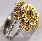 COUNTRY FLOWER ETCHED EMILY TWO TONE CZ RING