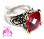 12MM THRONE ROOM CHECKER CUT RUBY RED GOLD PLATED CZ RING