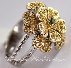 Country Flower Etched Emily Two Tone Ring
